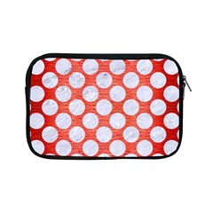 Circles2 White Marble & Red Brushed Metal Apple Ipad Mini Zipper Cases by trendistuff