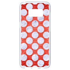 Circles2 White Marble & Red Brushed Metal Samsung Galaxy S8 White Seamless Case