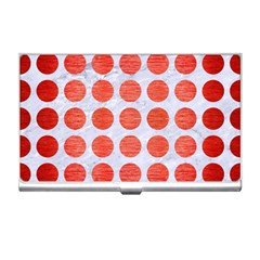 Circles1 White Marble & Red Brushed Metal (r) Business Card Holders by trendistuff