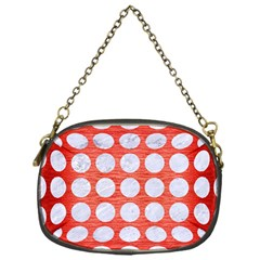 Circles1 White Marble & Red Brushed Metal Chain Purses (one Side)  by trendistuff