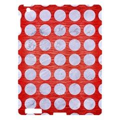 Circles1 White Marble & Red Brushed Metal Apple Ipad 3/4 Hardshell Case by trendistuff