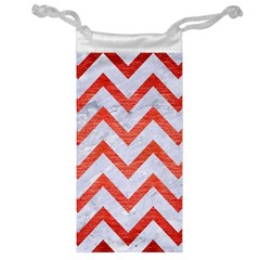 Chevron9 White Marble & Red Brushed Metal (r) Jewelry Bag by trendistuff