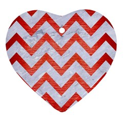 Chevron9 White Marble & Red Brushed Metal (r) Heart Ornament (two Sides)