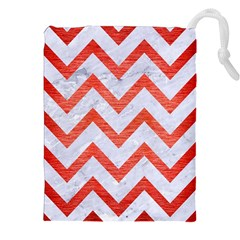 Chevron9 White Marble & Red Brushed Metal (r) Drawstring Pouches (xxl) by trendistuff