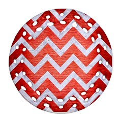Chevron9 White Marble & Red Brushed Metal Ornament (round Filigree) by trendistuff