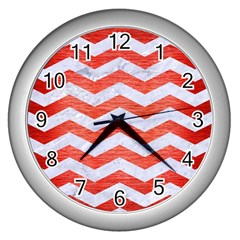 Chevron3 White Marble & Red Brushed Metal Wall Clocks (silver)  by trendistuff