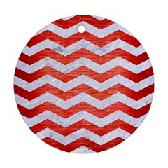 Chevron3 White Marble & Red Brushed Metal Round Ornament (two Sides) by trendistuff