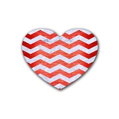 Chevron3 White Marble & Red Brushed Metal Heart Coaster (4 Pack)  by trendistuff