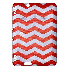 Chevron3 White Marble & Red Brushed Metal Kindle Fire Hdx Hardshell Case by trendistuff