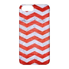 Chevron3 White Marble & Red Brushed Metal Apple Iphone 8 Plus Hardshell Case