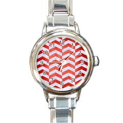 Chevron2 White Marble & Red Brushed Metal Round Italian Charm Watch by trendistuff