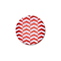 Chevron2 White Marble & Red Brushed Metal Golf Ball Marker by trendistuff