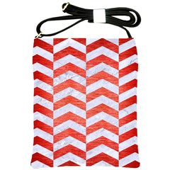 Chevron2 White Marble & Red Brushed Metal Shoulder Sling Bags by trendistuff