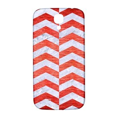 Chevron2 White Marble & Red Brushed Metal Samsung Galaxy S4 I9500/i9505  Hardshell Back Case by trendistuff