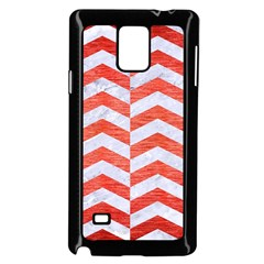 Chevron2 White Marble & Red Brushed Metal Samsung Galaxy Note 4 Case (black) by trendistuff