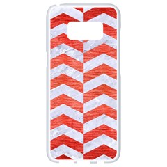 Chevron2 White Marble & Red Brushed Metal Samsung Galaxy S8 White Seamless Case