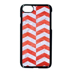 Chevron2 White Marble & Red Brushed Metal Apple Iphone 8 Seamless Case (black)