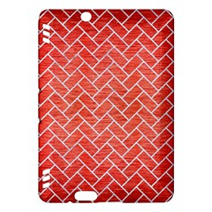 Brick2 White Marble & Red Brushed Metal Kindle Fire Hdx Hardshell Case by trendistuff