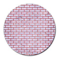 Brick1 White Marble & Red Brushed Metal (r) Round Mousepads by trendistuff