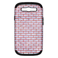 Brick1 White Marble & Red Brushed Metal (r) Samsung Galaxy S Iii Hardshell Case (pc+silicone) by trendistuff