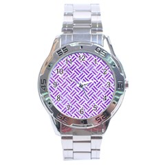 Woven2 White Marble & Purple Watercolor (r) Stainless Steel Analogue Watch by trendistuff