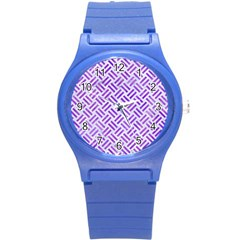 Woven2 White Marble & Purple Watercolor (r) Round Plastic Sport Watch (s) by trendistuff