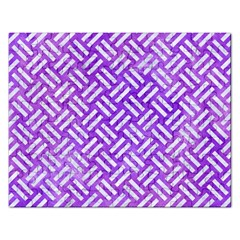 Woven2 White Marble & Purple Watercolor Rectangular Jigsaw Puzzl by trendistuff