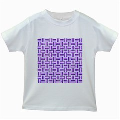 Woven1 White Marble & Purple Watercolor (r) Kids White T Shirts by trendistuff