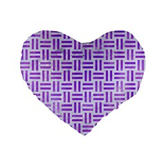 Woven1 White Marble & Purple Watercolor (r) Standard 16  Premium Flano Heart Shape Cushions by trendistuff