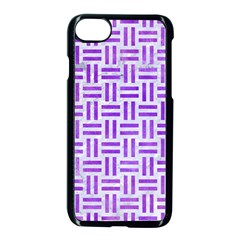 Woven1 White Marble & Purple Watercolor (r) Apple Iphone 8 Seamless Case (black)