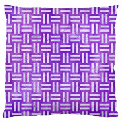 Woven1 White Marble & Purple Watercolor Large Flano Cushion Case (two Sides) by trendistuff