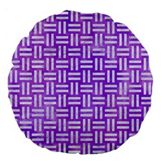 Woven1 White Marble & Purple Watercolor Large 18  Premium Flano Round Cushions by trendistuff
