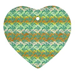Colorful Tropical Print Pattern Ornament (heart) by dflcprints