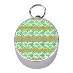 Colorful Tropical Print Pattern Mini Silver Compasses by dflcprints