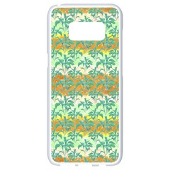 Colorful Tropical Print Pattern Samsung Galaxy S8 White Seamless Case by dflcprints