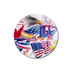 United States Of America Usa  Images Independence Day Rubber Round Coaster (4 Pack)  by Sapixe
