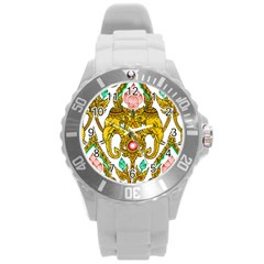 Traditional Thai Style Painting Round Plastic Sport Watch (l) by Sapixe
