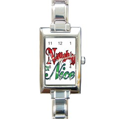 Vintage Christmas Naughty Or Nice Rectangle Italian Charm Watch by Sapixe