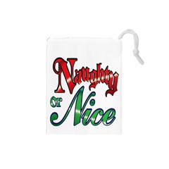 Vintage Christmas Naughty Or Nice Drawstring Pouches (small)  by Sapixe