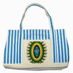 Seal Of The Brazilian Army Striped Blue Tote Bag by abbeyz71
