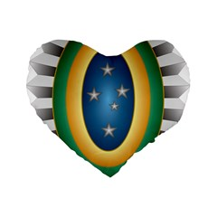 Seal Of The Brazilian Army Standard 16  Premium Flano Heart Shape Cushions by abbeyz71