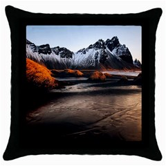 Vestrahorn Iceland Winter Sunrise Landscape Sea Coast Sandy Beach Sea Mountain Peaks With Snow Blue Throw Pillow Case (black) by Sapixe