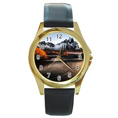 Vestrahorn Iceland Winter Sunrise Landscape Sea Coast Sandy Beach Sea Mountain Peaks With Snow Blue Round Gold Metal Watch by Sapixe