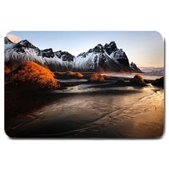 Vestrahorn Iceland Winter Sunrise Landscape Sea Coast Sandy Beach Sea Mountain Peaks With Snow Blue Large Doormat  by Sapixe