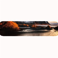Vestrahorn Iceland Winter Sunrise Landscape Sea Coast Sandy Beach Sea Mountain Peaks With Snow Blue Large Bar Mats by Sapixe