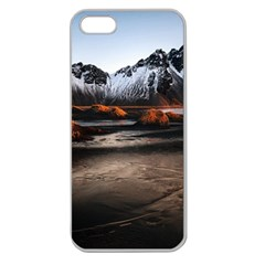 Vestrahorn Iceland Winter Sunrise Landscape Sea Coast Sandy Beach Sea Mountain Peaks With Snow Blue Apple Seamless Iphone 5 Case (clear) by Sapixe