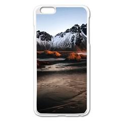 Vestrahorn Iceland Winter Sunrise Landscape Sea Coast Sandy Beach Sea Mountain Peaks With Snow Blue Apple Iphone 6 Plus/6s Plus Enamel White Case by Sapixe