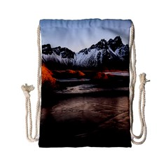 Vestrahorn Iceland Winter Sunrise Landscape Sea Coast Sandy Beach Sea Mountain Peaks With Snow Blue Drawstring Bag (small) by Sapixe