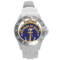 Seal Of Brazilian Navy  Round Plastic Sport Watch (l) by abbeyz71