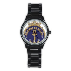 Seal Of Brazilian Navy  Stainless Steel Round Watch by abbeyz71